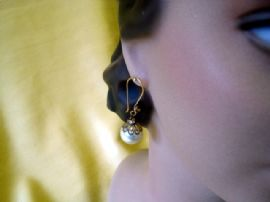 1950's Faux Pearl Ball Earring with Diamante Roundel on Vermeil Wires
